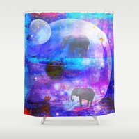 paradise Shower Curtains featuring paradise by haroulita