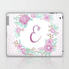 Monogram E - cute girls purple florals flower wreath, lilac florals, baby girl, baby blanket Laptop & iPad Skin
