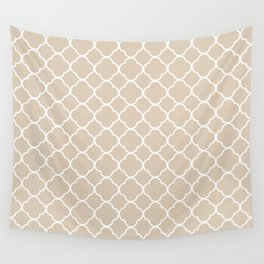 Clover Quatrefoil Pattern: Beige Wall Tapestry