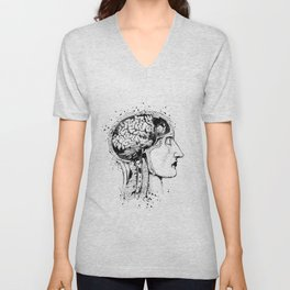 Human Head and Brain Anatomy Art Black and White Gift Anatomical Art Doctor Gift Medical Art Unisex V-Neck