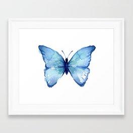 Blue Butterfly Watercolor Framed Art Print
