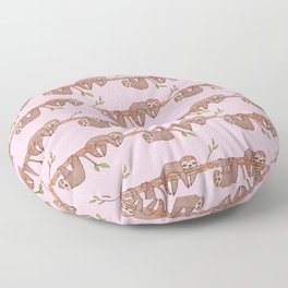 Lazy Baby Sloth Pattern in Pink Floor Pillow