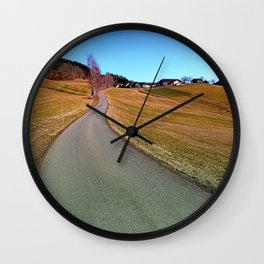 Country road through rural scenery | landscape photography Wall Clock