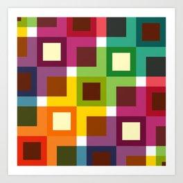 Geometric Pattern 11 (Colorful squares) Art Print
