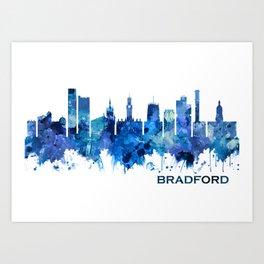 Bradford England Skyline Blue Art Print