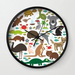Animals Australia. Echidna Platypus ostrich Emu Tasmanian devil Cockatoo parrot Wombat snake turtle Wall Clock