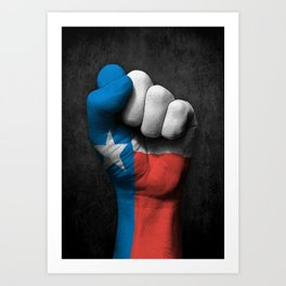 Texas Flag on a Raised Clenched Fist Art Print