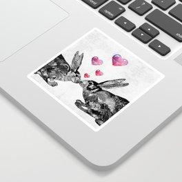 Bunny Rabbit Art - Hopped Up On Love 2 - By Sharon Cummings Sticker