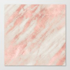 Desert Rose Gold Pink Marble Canvas Print