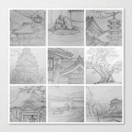 Sakura Japan sketches by David A Sutton. sketchbookexplorer.com Canvas Print