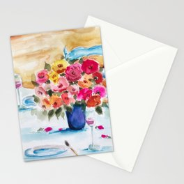 Roses and Rosè  Stationery Cards
