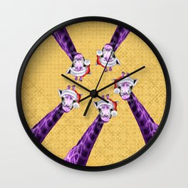 Tis The Season - Giraffe Wall Clock