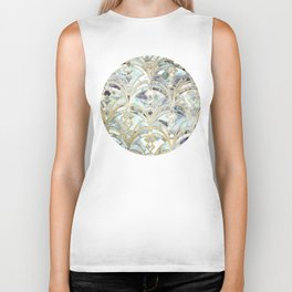 Pale Bright Mint and Sage Art Deco Marbling Biker Tank