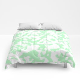 Spots - White and Light Green Comforters
