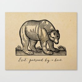 William Shakespeare, Exit Pursued by a Bear Canvas Print