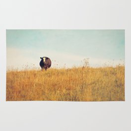 Moooo -- Autumn Landscape -- Cow in a Pasture Rug