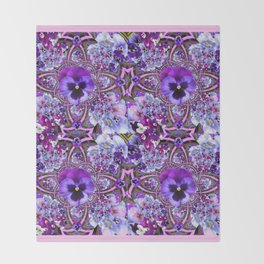 AWESOME GEOMETRIC LILAC PURPLE PANSIES GARDEN ART Throw Blanket
