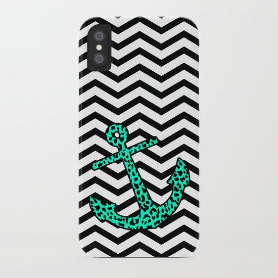 Mint Leopard Chevron Anchor iPhone Case