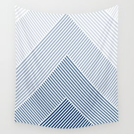 Shades of Blue Abstract geometric pattern Wall Tapestry