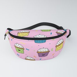 Cute Happy Fun Cupcakes with pink background Fanny Pack
