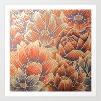 lotus flower Art Prints featuring Lotus by Jess Moore