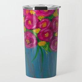 Pink roses in Blue vase Travel Mug