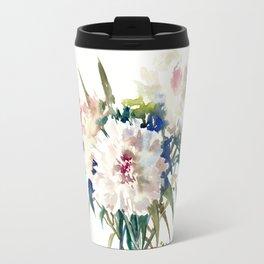 White Peonies, Asian Watercolor design Garden Peonies White lofral art Travel Mug
