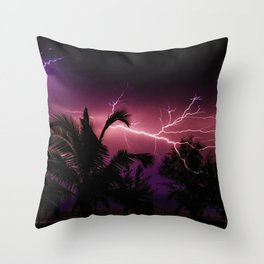 Sunset Lightening Storm (Color) Throw Pillow