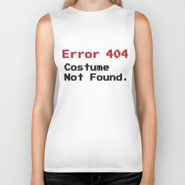 Error 404 Costume Not Found Funny Fast Halloween Black Biker Tank