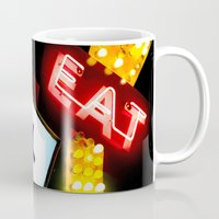 eat Mugs featuring Eat by Dusty Snowman