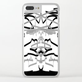 Artistic bat in the darkness , Abstract, art, Gray, black,  graffity, points, bat Clear iPhone Case