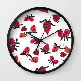 Watercolor Strawberries Wall Clock