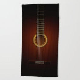 Full Guitar Black Beach Towel