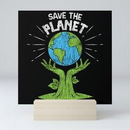 Retro Vintage Save Our Planet Plant Tree Earth Day Mini Art Print