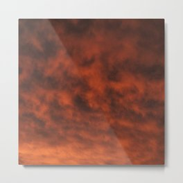 Dramatic and Fiery Orange Sunset Clouds Metal Print