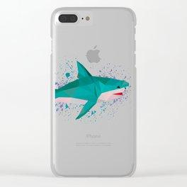 Geometric Shark, origami Design Clear iPhone Case