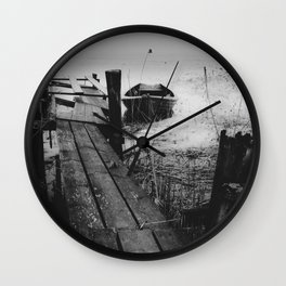 Crooked fisherman - Black and white Wall Clock