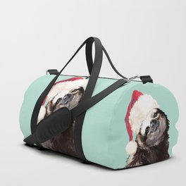 Christmas Sloth in Green Duffle Bag