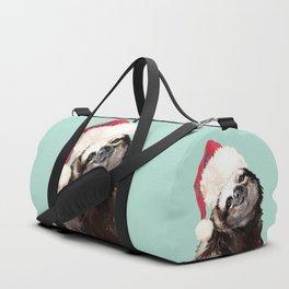 Christmas Sloth in Green Duffle Bag