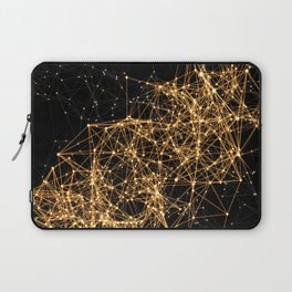 Shiny golden dots connected lines on black Laptop Sleeve