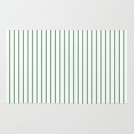 Moss Green Green Pin Stripe on White Rug