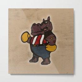 Hippo Pugilist Metal Print