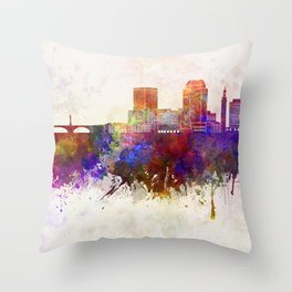 Springfield MA skyline in watercolor background Throw Pillow