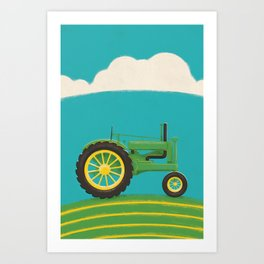 Old Green Tractor Art Print