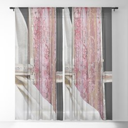 Red Window Frame with White Curtain  Closeup Sheer Curtain