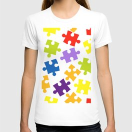 Seamless pattern with color puzzles T-shirt