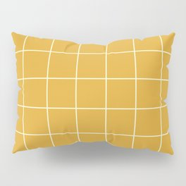 9x Yellow Grid Lines Pillow Sham