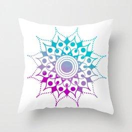 Mandala #2 (Purple Pink Turquiose) Throw Pillow