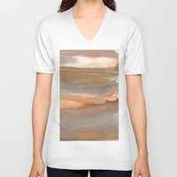 agate V-neck T-shirts featuring Peach Agate by Amie Amyotte