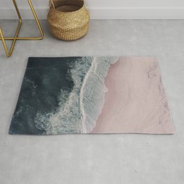 Sands of Cameo Pink - Aerial Beach and Ocean photography by Ingrid Beddoes Rug